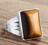 Men's Ring 925 K Sterling Silver with Natural Brown Tiger's Eye, Ring for Men with Natural Stone - J  F  M