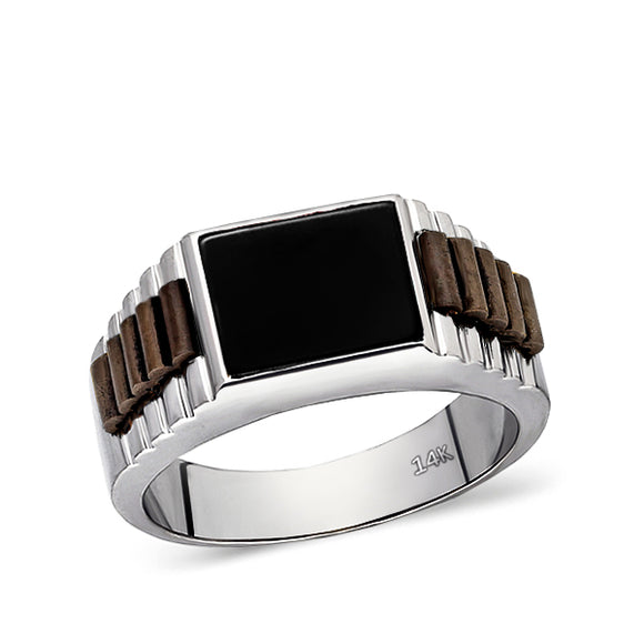 Metal: 14K Solid White Gold Brown parts: 14K Gold (oxidized) Stone: Black Onyx Cut: Rectangular Dimensions: 8mm x 10mm