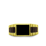 Men's Heavy Wide Ring Solid Fine 14k Yellow Gold Black Signet Onyx Ring for Men