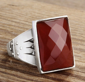 Men's Ring with Natural Red Agate Gemstone in 925 Sterling Silver - J  F  M