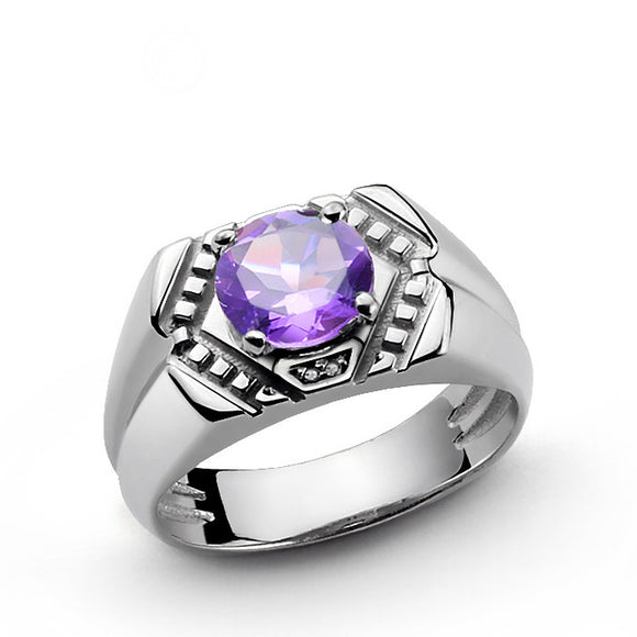 Amethyst and Diamonds Men's Vintage Ring in Sterling Silver - J  F  M