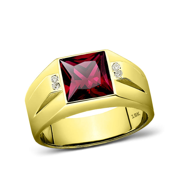 18K Real Yellow Fine Gold Red Ruby Mens Ring with 4 Natural Diamonds Accents