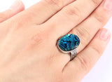 Men's Vintage Ring in 925 Sterling Silver with Natural Abalone - J  F  M