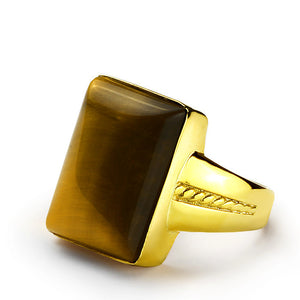 14k Solid Gold Men's Ring with Brown Tiger's Eye Natural Stone - J  F  M