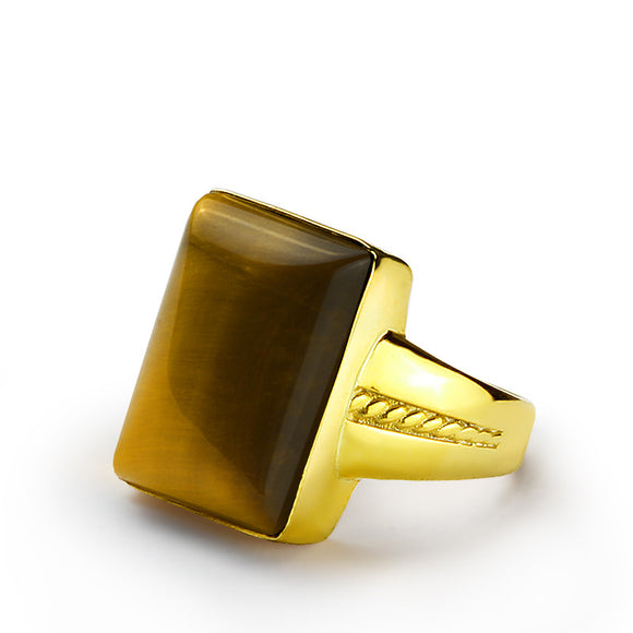 10k Yellow Gold Men's Ring with Brown Tiger's Eye Natural Stone Ring - J  F  M