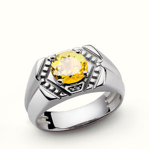Men's Ring Sterling Silver with Yellow Citrine Gemstone and Diamonds - J  F  M