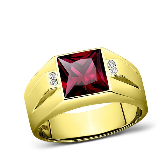 925 Solid Silver Mens Red Ruby Ring 18K Gold Plated 4 Diamond Accent All Sizes