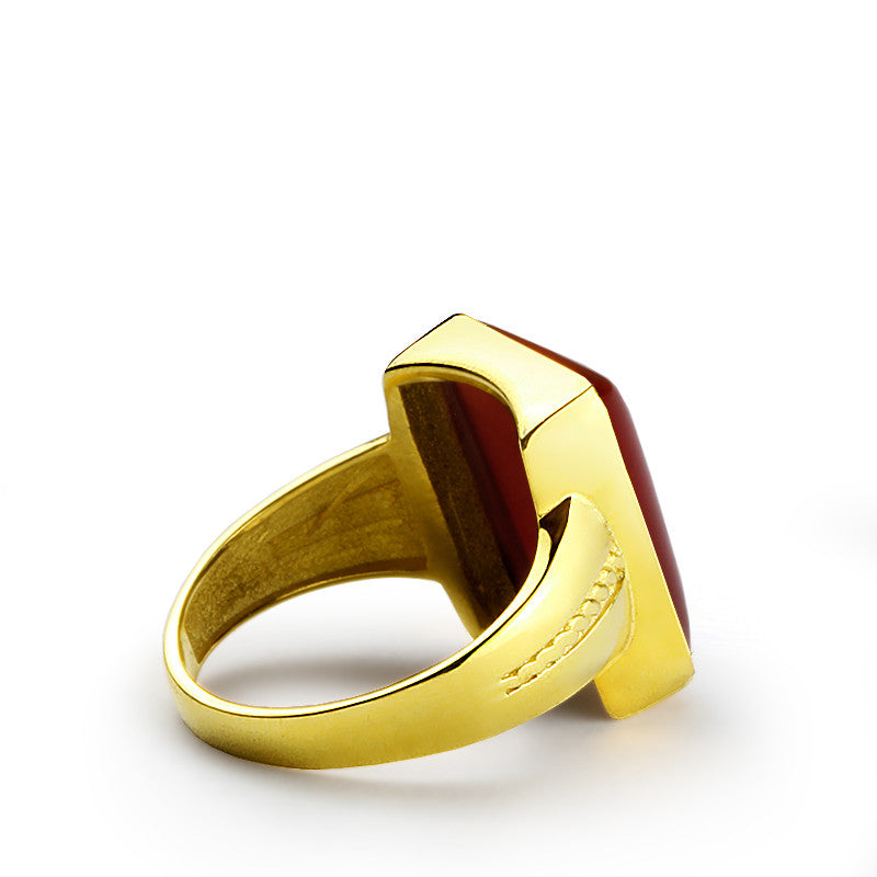 Men's Ring in 10k Yellow Gold with Red Agate, Natural Stone Ring for Men - J  F  M
