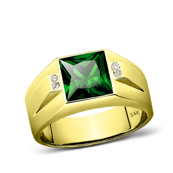 14K Real Yellow Fine Gold Green Emerald Ring For Men 4 Natural Diamond Accents