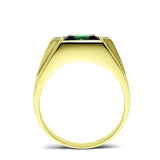 Mens Ring 18K Real Yellow Fine Gold Green Emerald with 4 Natural Diamond Accent