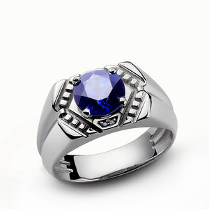 Men's Diamond Ring in Sterling Silver with Blue Sapphire Gemstone - J  F  M