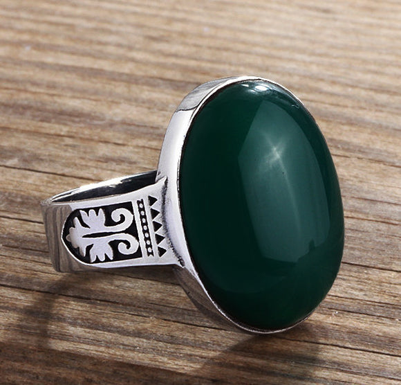 Men's Gemstone Ring in 925 Sterling Silver with Natural Green Agate - J  F  M