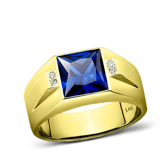 14K Real Yellow Fine Gold Blue Sapphire Ring For Men 4 Natural Diamond Accents