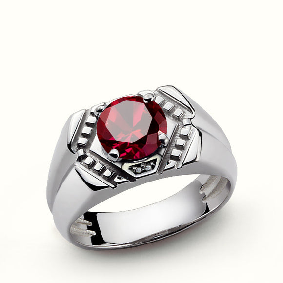 Men's Sterling Silver Ring with Natural Diamonds and Red Ruby Gemstone - J  F  M