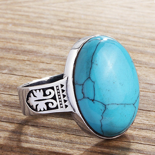 Men's Statement Ring Sterling Silver with Blue Turquoise Natural Gemstone - J  F  M