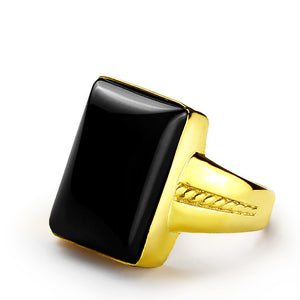 Men's Ring in 14k Gold with Black Onyx Stone, Statement Ring for Men - J  F  M