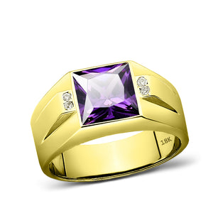 Men Ring 18K Real Yellow Fine Gold Purple Amethyst with 4 Natural Diamond Accent