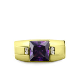 18K Gold Plated 925 Solid Silver Mens Purple Amethyst Ring 4 Diamond Accent