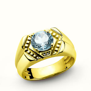 10k Yellow Gold Men's Ring with Topaz Gemstone and Natural Diamonds - J  F  M