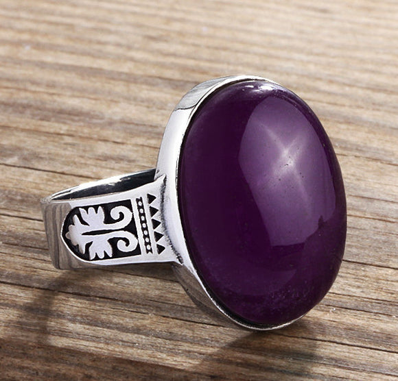 Men's Sterling Silver ArtDeco Ring with Natural Amethyst - J  F  M