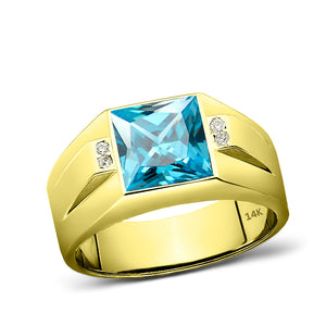14K Yellow Gold Mens Ring Blue Aquamarine and 4 Diamond Accents Ring For Man