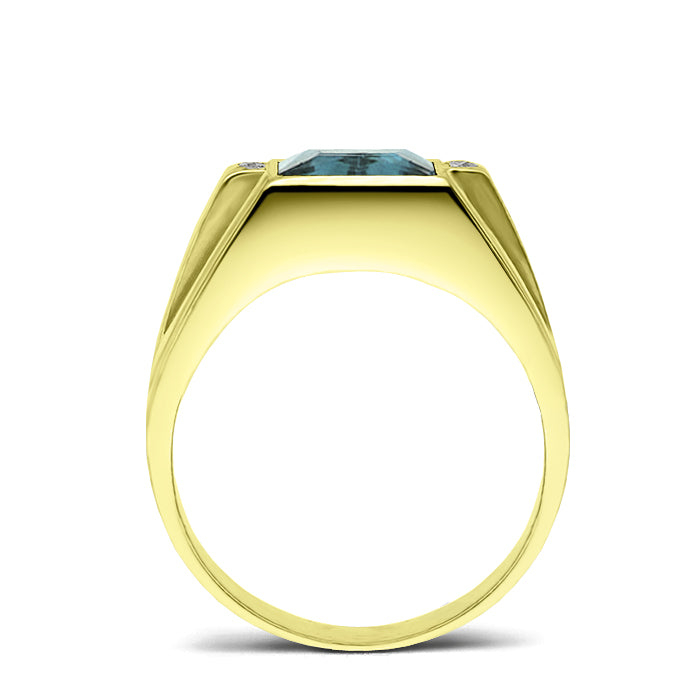 18K Gold Plated Solid Silver Mens Aquamarine Gemstone 4 Diamond Accents Ring