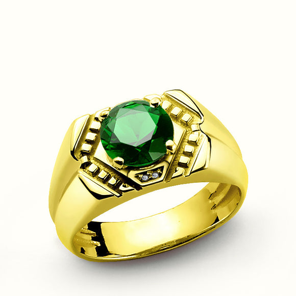 Men's Ring with Green Emerald and Diamonds in 14k Yellow Gold - J  F  M