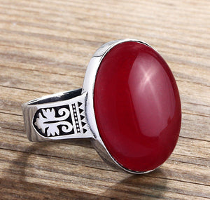 Men's Artdeco Ring Sterling Silver with Natural Red Agate Stone - J  F  M