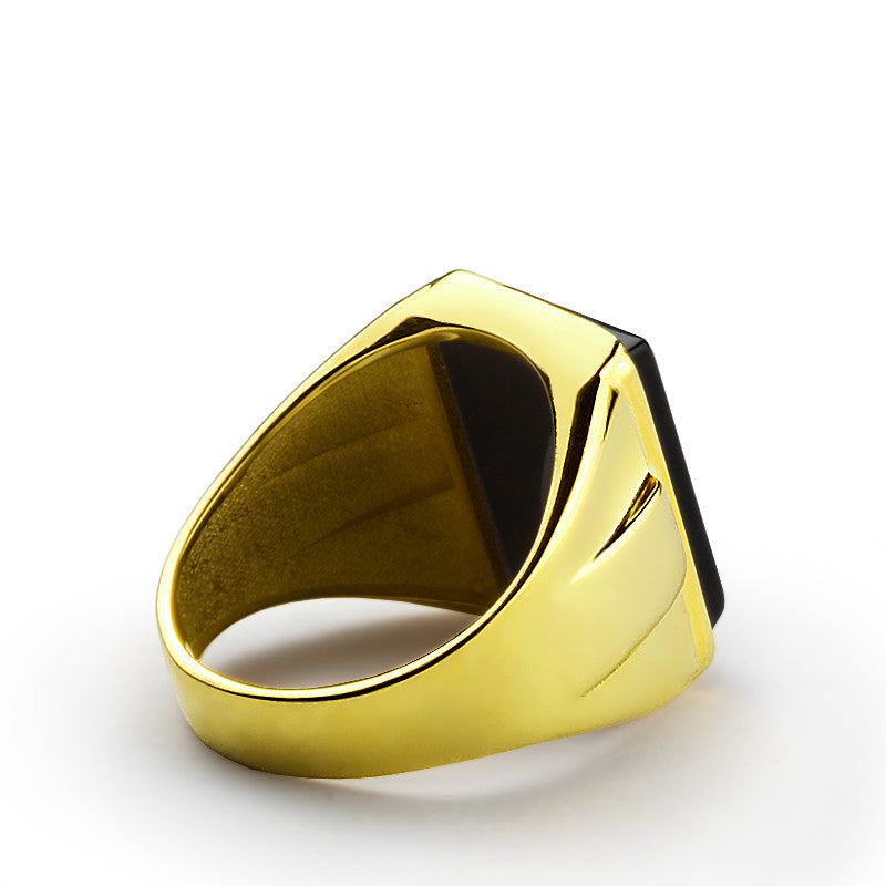 14k Yellow Gold Men s Ring with Black yx Stone Statement Ring