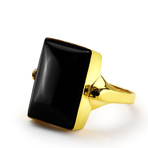 Men's Ring with Black Onyx in 14k Yellow Gold - J  F  M