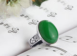 ArtDeco Men's Ring with Natural Green Jade Gemstone in Sterling Silver - J  F  M