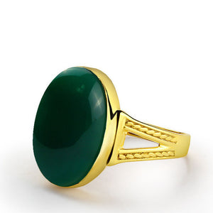 14k Yellow Gold Men's Ring with Green Agate, Natural Stone Ring for Men - J  F  M
