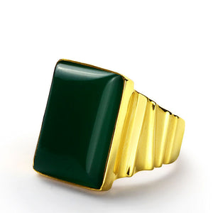 Men's Statement Ring in 14k Yellow Gold with Green Agate Natural Stone - J  F  M