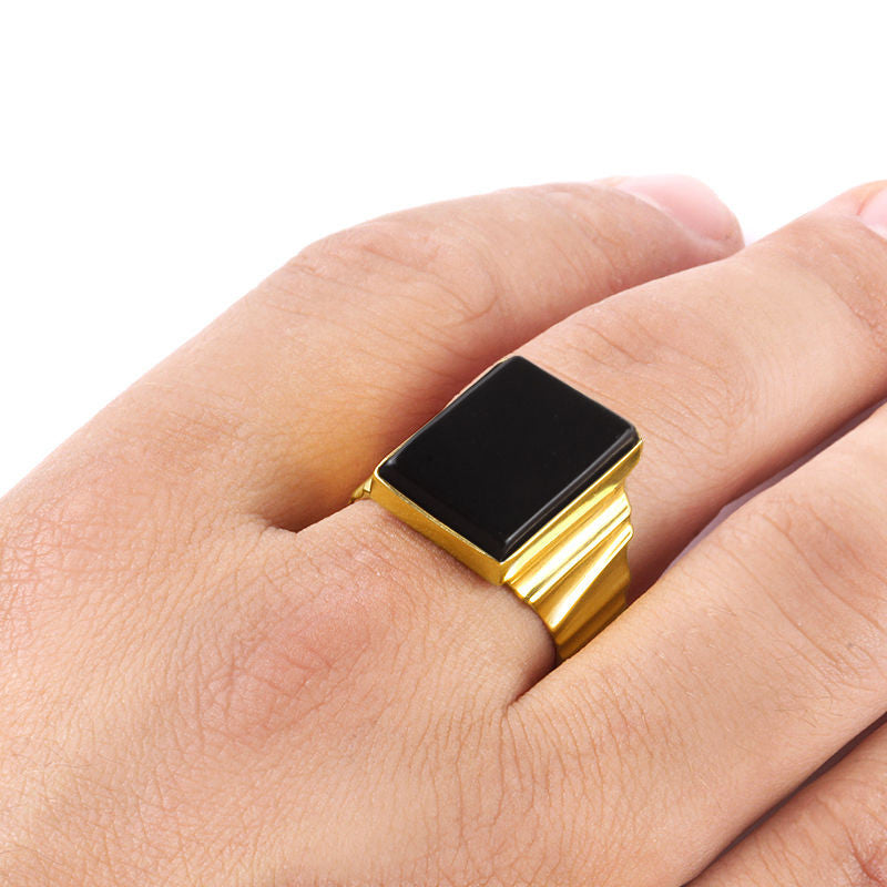 Men s Ring in 10k Yellow Gold with Natural Black yx Stone – J F M