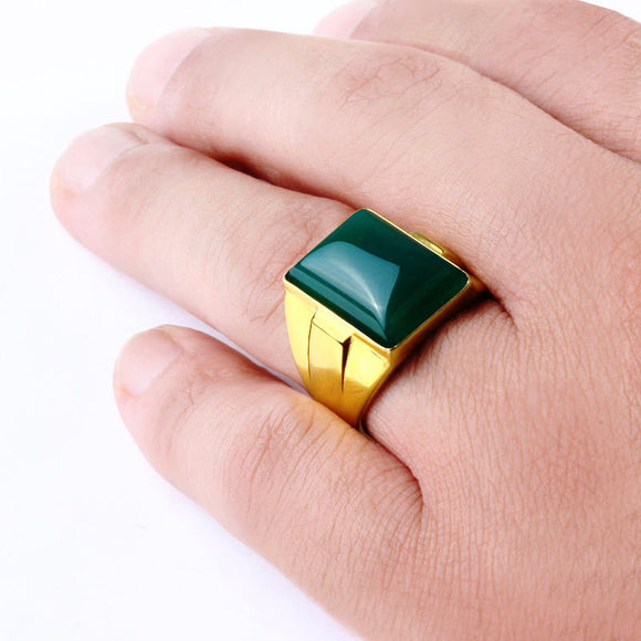 Agate Men's Ring in 10k Yellow Gold, Natural Stone Ring for Men - J  F  M