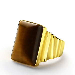Tiger's Eye Ring for Men in 14k Yellow Gold - J  F  M
