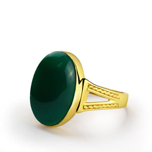 10k Yellow Gold Men's Ring with Green Agate Natural Stone - J  F  M