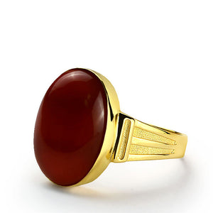 14k Yellow Gold Men's Ring with Red Agate Natural Stone - J  F  M