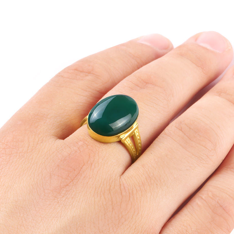10k Yellow Gold Men s Ring with Green Agate Natural Stone – J F M
