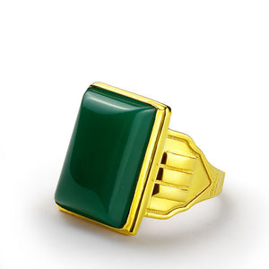 10k Yellow Gold Men's Ring with Green Agate Natural Stone Statement Ring - J  F  M