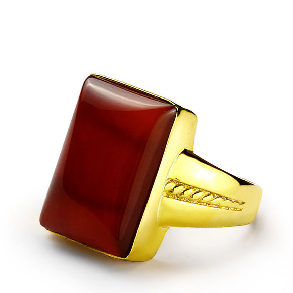 Men's Ring with Natural Red Agate in 14k Yellow Gold - J  F  M