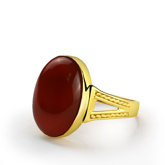 10k Yellow Gold Men's Ring with Natural Red Agate Stone - J  F  M
