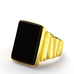 Men's Ring in 14k Yellow Gold with Natural Black Onyx Stone - J  F  M