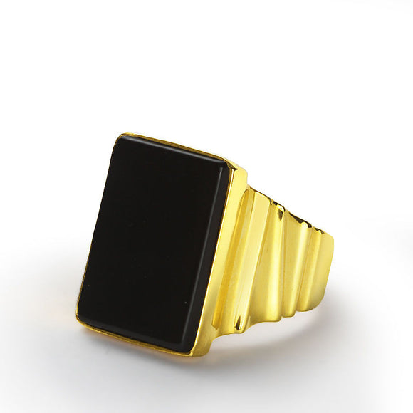 Men's Ring in 10k Yellow Gold with Natural Black Onyx Stone - J  F  M