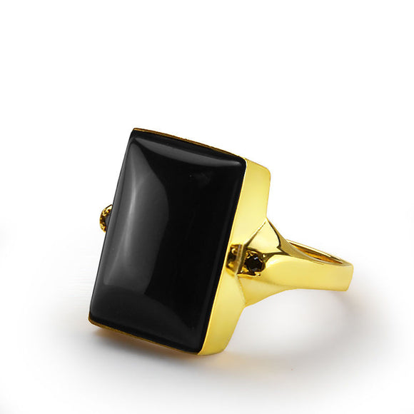 Men's Ring with Onyx in 10k Yellow Gold, Natural Black Stone Ring for Men - J  F  M