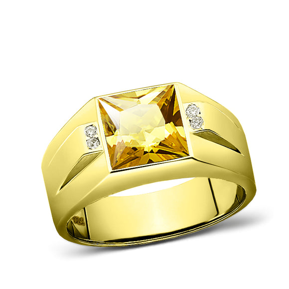 18K Gold Plated 925 Solid Silver Mens Yellow Citrine Ring 4 Diamond Accent
