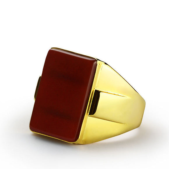 10k Yellow Gold Men's Ring with Red Agate Stone, Statement Ring for Men - J  F  M