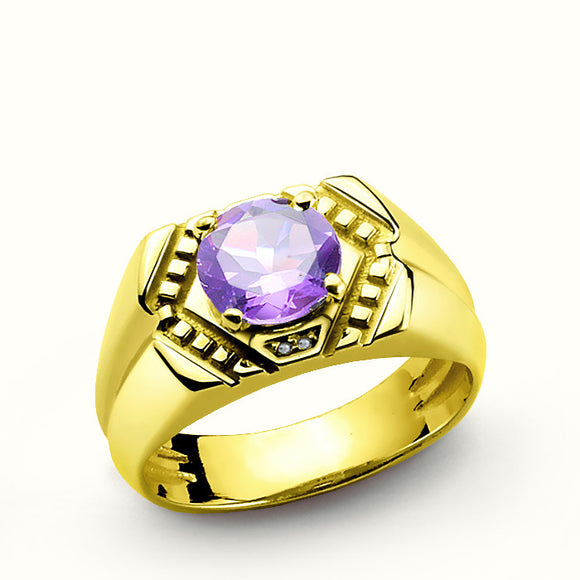 Men's Ring in 14k Solid Yellow Gold with Purple Amethyst Gemstone and Diamonds - J  F  M