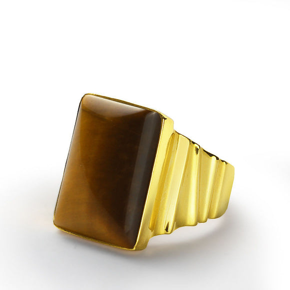 Men's Ring Natural Tiger's Eye in 10k Yellow Gold, Statement Ring for Men - J  F  M