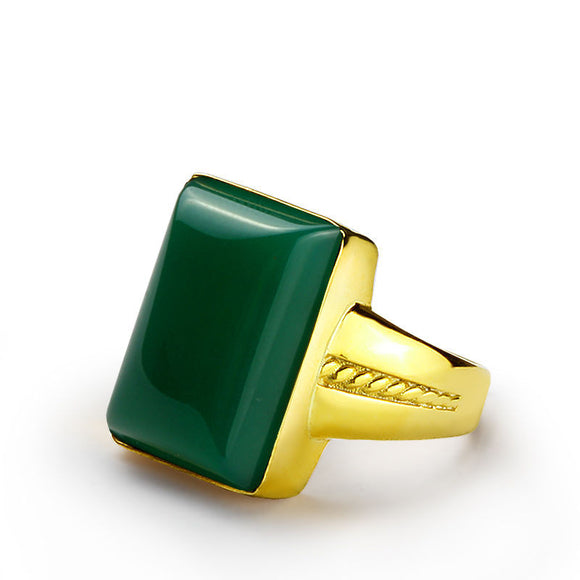 10k Yellow Gold Men's Ring with Green Agate Natural Stone Ring for Men - J  F  M